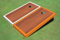 Rosewood Stained Center White And Orange Border Cornhole Board