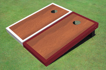 Rosewood Stained Center White And Maroon Border Cornhole Board