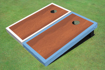 Rosewood Stained Center White And Light Blue Border Cornhole Board