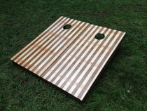 Stained / Natural Alternating Wood Slat Custom Cornhole Board