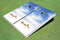 Girl Beach Custom Cornhole Board