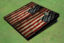 American Flag Grunge # 1 Cornhole Bag Toss Set