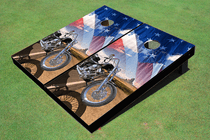 Motorcycle Desert and American Flag Cornhole Board Set