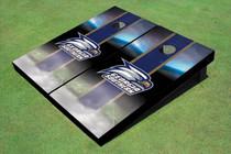 Georgia Southern University Head Logo Field Long Strip Matching Blue Themed Cornhole Boards
