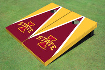 "Iowa State University ""I"" Red And Yellow Matching Triangle Custom Cornhole Board"