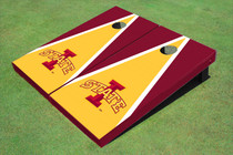 "Iowa State University ""I"" Yellow And Red Matching Triangle Custom Cornhole Board"