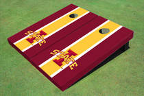 "Iowa State University ""I"" Yellow And Red Matching Long Stripe Custom Cornhole Board"