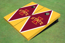 "Iowa State University ""I"" Red And Yellow Matching Diamond Custom Cornhole Board"