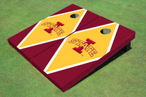 "Iowa State University ""I"" Yellow And Red Matching Diamond Custom Cornhole Board"