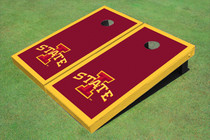 "Iowa State University ""I"" Yellow Matching Border Custom Cornhole Board"