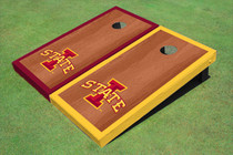 "Iowa State University ""I"" Rosewood Alternating Border Custom Cornhole Board"
