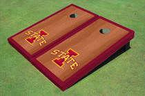 "Iowa State University ""I"" Red Rosewood Matching Border Borders Custom Cornhole Board"