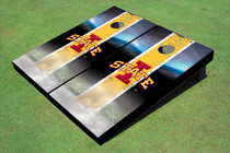 "Iowa State University ""I"" Field Long Strip Matching Yellow Custom Cornhole Board"