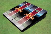 "Iowa State University ""I"" Field Long Strip Matching Red Custom Cornhole Board"