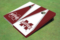 "Mississippi State University ""M"" Alternating Triangle Custom Cornhole Board"