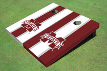 "Mississippi State University ""M"" Alternating Long Stripe Custom Cornhole Board"