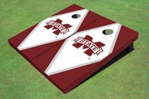 "Mississippi State University ""M"" White And Maroon Matching Diamond Custom Cornhole Board"