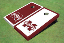"Mississippi State University ""M"" Alternating Border Custom Cornhole Board"