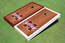 "Mississippi State University ""M"" Rosewood Alternating Border Custom Cornhole Board"