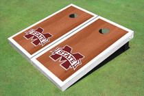"Mississippi State University ""M"" White Rosewood Matching Borders Custom Cornhole Board"
