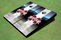"Mississippi State University ""M"" Field Long Strip Matching White Custom Cornhole Board"