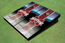 "Mississippi State University ""M"" Field Long Strip Matching Maroon Custom Cornhole Board"