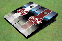 "Mississippi State University ""M"" Field Long Strip Alternating Custom Cornhole Board"