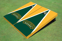 Baylor University Arch Hunter Green And Yellow Matching Triangle Custom Cornhole Board