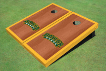 Baylor University Arch Yellow Rosewood Matching Border Borders Custom Cornhole Board