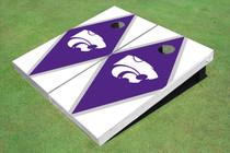 Kansas State University Wildcats Purple And White Matching Diamond Custom Cornhole Board