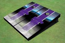 Kansas State University Wildcats Field Long Strip Matching Purple Custom Cornhole Board