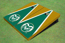 Colorado State University Rams Logo Green And Gold Matching Triangle Custom Cornhole Board