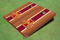 "Iowa State University ""I"" Red Rosewood Matching Long Strip Custom Cornhole Board"
