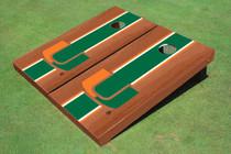 University Of Miami Green Rosewood Matching Long Stripe Custom Cornhole Board