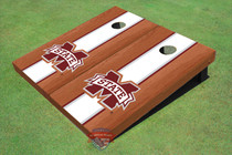 "Mississippi State University ""M"" White Rosewood Matching Long Strip Custom Cornhole Board"