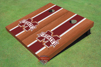 "Mississippi State University ""M"" Maroon Rosewood Matching Long Stripe Custom Cornhole Board"