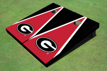 "University Of Georgia ""G"" Red And Black Matching Triangle Custom Cornhole Board"