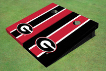 "University Of Georgia ""G"" Alternating Long Stripe Custom Cornhole Board"