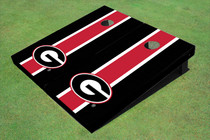 "University Of Georgia ""G"" Red And Black Matching Long Stripe Custom Cornhole Board"