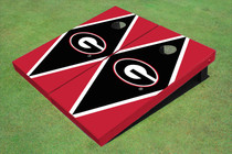 "University Of Georgia ""G"" Black And Red Matching Diamond Custom Cornhole Board"