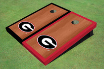"University Of Georgia ""G"" Rosewood Alternating Border Custom Cornhole Board"