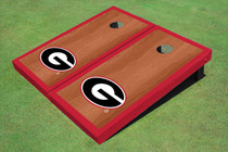 "University Of Georgia ""G"" Red Rosewood Matching Border Borders Custom Cornhole Board"