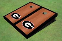 "University Of Georgia ""G"" Black Rosewood Matching Borders Custom Cornhole Board"