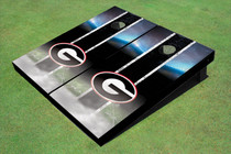 "University Of Georgia ""G"" Field Long Strip Matching Black Custom Cornhole Board"