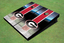 "University Of Georgia ""G"" Field Long Strip Matching Red Custom Cornhole Board"