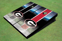 "University Of Georgia ""G"" Field Long Strip Alternating Custom Cornhole Board"