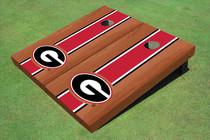 "University Of Georgia ""G"" Red Rosewood Matching Long Strip Custom Cornhole Board"