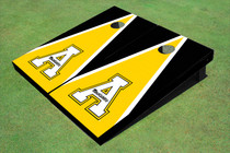 "Appalachian State University ""A"" Yellow And Black Matching Triangle Custom Cornhole Board"