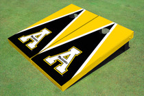 "Appalachian State University ""A"" Black And Yellow Matching Triangle Custom Cornhole Board"