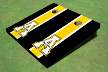 "Appalachian State University ""A"" Yellow And Black Matching Long Stripe Custom Cornhole Board"